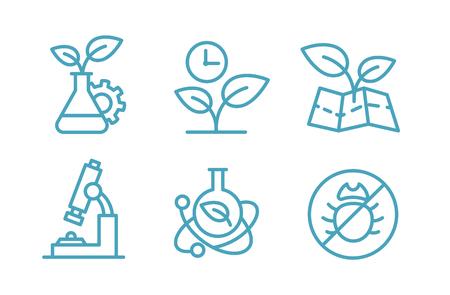 バイオ テクノロジーのアイコンのセットです。生物化学植物、フラスコ。農業・農学者。  イラスト・ベクター素材