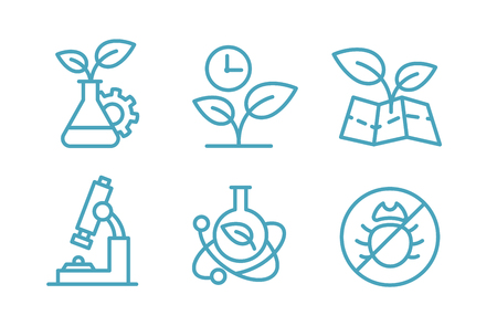 A set of icons biotechnology. Biology chemistry plants and flasks. Agriculture and agronomist. Ilustrace