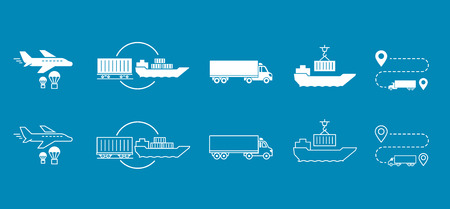 Set of icons Transported Shipping delivery transportation. Reklamní fotografie - 81303318
