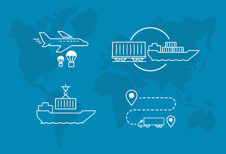 Set of icons Air Railway and water freight transport Shipping delivery transportation. Ilustrace
