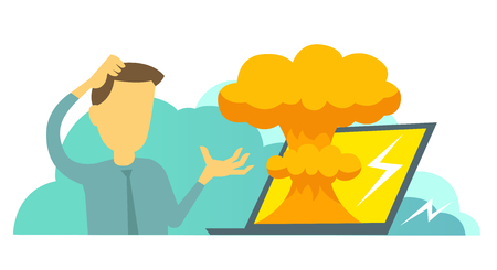 System error in laptop epic fail. Atomic bomb explosion nuclear. Man manager programmer and bug in the computer. Oops. Vector illustration