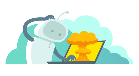 System error in laptop epic fail. Atomic bomb explosion nuclear, robot and bug in the computer