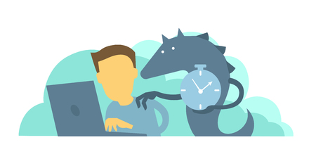 Monster reminds the worker of deadline. Time to take the project. Man does not have time to make project. Vector illustration Illustration