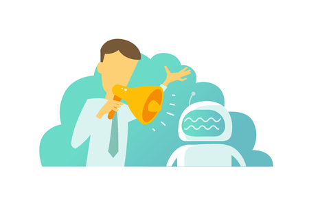 Leader inspires. The chief with horn shouted yelling at his subordinate robot. The man hurries. Team work in the office. Situations at work. Vector illustration