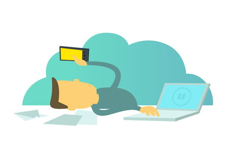 Office loafer. Social networks distract from work. Worker with a smartphone. Break pause in work. Office lounger workers. Stock Vector - 85647306