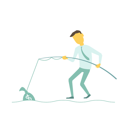 釣り竿を持ったビジネスマンを引いたお金の袋。ベクトルの簡潔なシンプルなメタファーのイラスト。  イラスト・ベクター素材