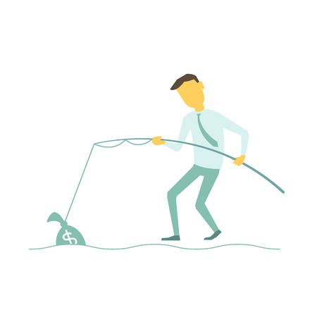 Geschäftsmann mit einer Angelrute fing Tasche des Geldes. Illustration eines Vektors lakonische einfache Metapher. Standard-Bild - 87448080