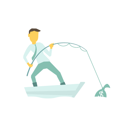 Businessman with a fishing rod caught bag of money. By boat in the lake. Illustration of a vector laconic simple metaphor.