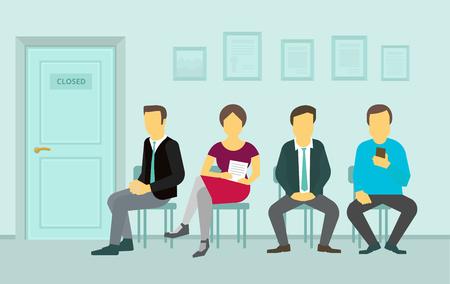 Mensen die op stoelen zitten en in het wachtrij interview wachten, draai de deur