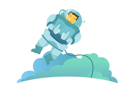 The astronaut in the weightlessness hangs in the air zero gravity. Feels great and recommends you. Thumbs up. Illustration vector metaphor. Illustration