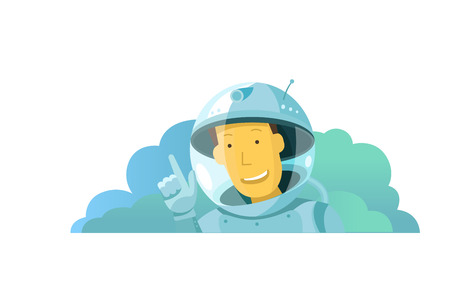 The cosmonaut points with his finger. Place for text. The face in the spacesuit. Happy and smiling. Feels great and recommends you. Illustration vector metaphor. Illustration