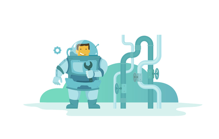 Plumber Man in diving wet suit came to repair pipes with a wrench. Water pipes. Illustration vector metaphor.