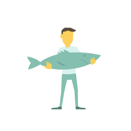 Businessman fisherman with a big fish in his hands. Modern flat illustration vector laconic simple metaphor.