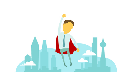 cloak: Superhero man businessman flies over the city with hand up. Success and victory. In tie and red cloak. Vector illustration, business metaphor.