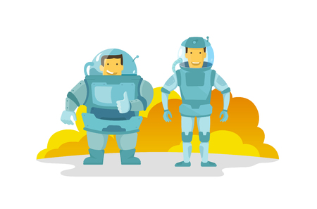 Two cosmonauts in the spacesuit., fat and thin. Shows the finger up. Happy and smiling. new planet.Illustration vector metaphor. Illustration