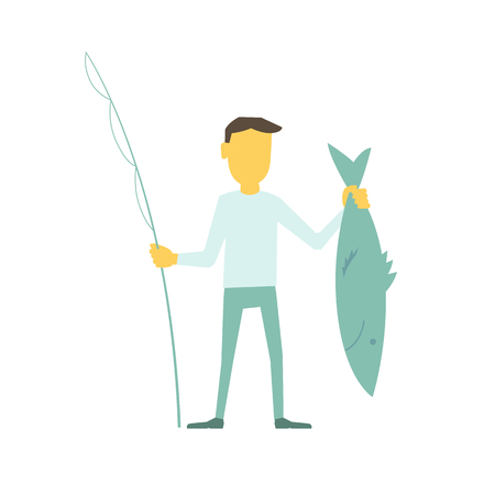 Businessman fisherman with a fishing rod caught big fish. Modern flat illustration vector laconic simple metaphor.