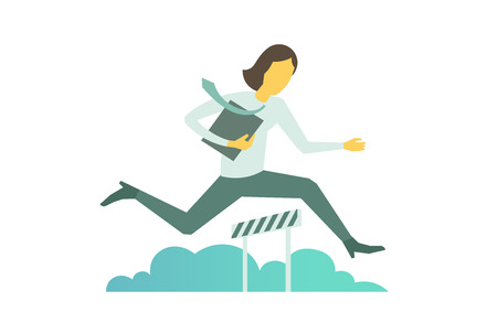 Businesswoman jumps overcoming the barrier Business obstacles concept with a folder.