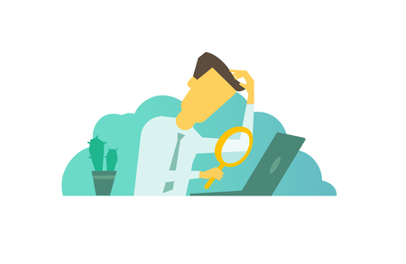 Businessman with magnifier in hand looking for something in the laptop sitting at the table