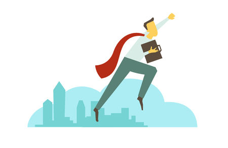 Superhero man businessman flies over the city. Success and victory. In red cloak with briefcase. Vector illustration. Illustration
