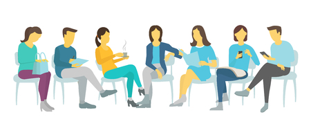 Seven people set work sitting on chairs Men and women. Illustration