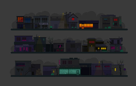 Night city street. Set of architecture buildings. Flat vector graphics. Many buildings cafes, lanterns and various details In the dark illustration