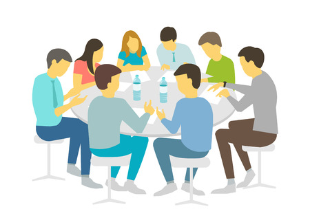Round table talks brainstorm. Team business people meeting conference eight people. White background stock illustration vector Refresher courses Vettoriali