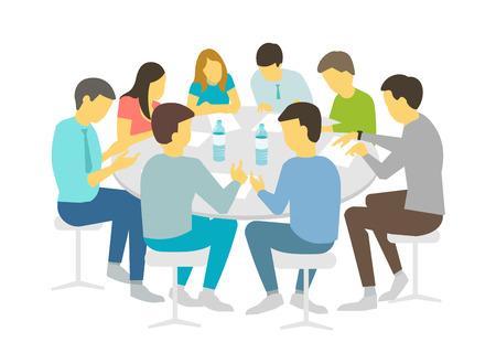 Mesa redonda habla de lluvia de ideas. Equipo de gente de negocios reunión de conferencia de ocho personas. Fondo blanco stock ilustración vectorial Cursos de actualización