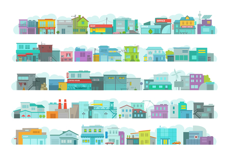 Set of architecture town buildings. City long street. Flat stock vector graphics. A lot of various details Illustration