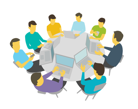Group of people students team having meeting conference. White background stock illustration vector.