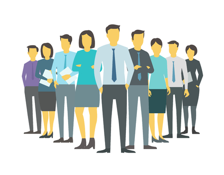 Leader boss director team company business group people stand of office clerks. Training finance stock illustration vector.
