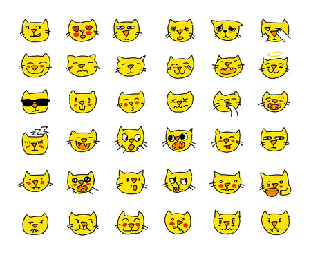 Emoji sticker set cat head yellow color, different emotions, muzzle. Drawn by hand.