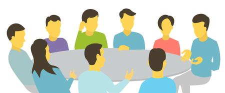 ラウンド テーブルは話しています。チームのビジネスマンが会議 9 人との出会い。白い背景ストック イラスト。