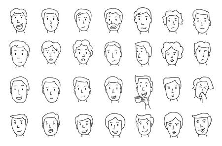 Conjunto de caras de personas. Diferentes emociones Pintado a mano. Líneas en boceto a lápiz