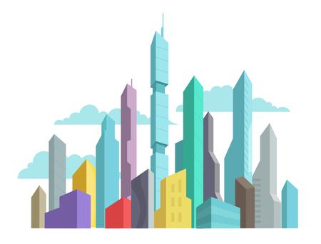 O futuro inventou os prédios do panorama do arranha-céus da cidade vector a ilustração colorida conservada em estoque. Paisagem de arquitetura moderna. Centro de negócios