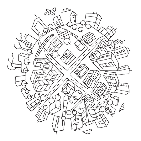 Round city buildings illustration world planet Earth. Hand drawn vector stock outline illustration. The city on the ball. Like a fisheye. Pen or pencil black-and-white drawing.