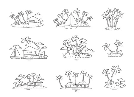 Palm island beach paradise set. Tourism rest ocean illustration set. Sea bungalow holidays. Hand drawn.  イラスト・ベクター素材