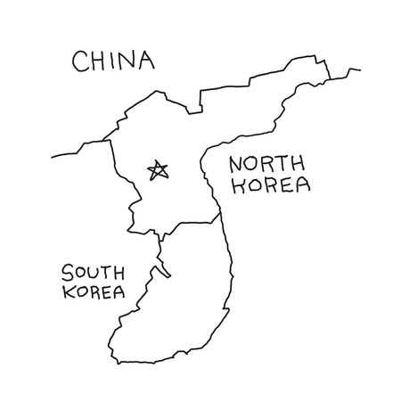 Hand-drawn map of North Korea borders. China and South Korea. Hand drawn vector stock illustration..