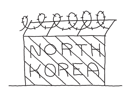 Hand-drawn fence with barbed wire. North Korea blockade borders communist country. Hand drawn vector stock illustration. Pen or pencil drawing.