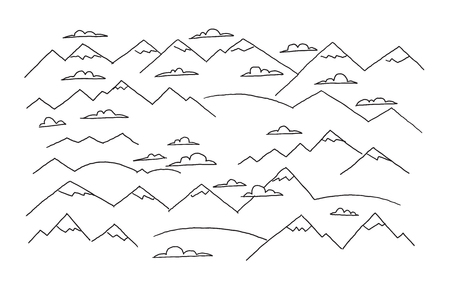 Mountains and clouds.