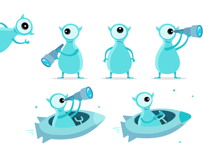 One-eyed blue alien character set. With telescope search. On rocket starfish. Flat color vector illustration stock clipart Çizim