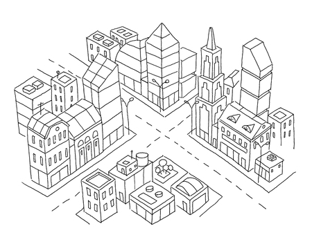 Intersection of the city sketch. Skyscrapers and high-rise buildings. Home architecture city center. Hand drawn black line
