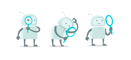 Robot alien character with magnifier loupe set. With magnifying glass search. Flat color vector illustration stock clipart.