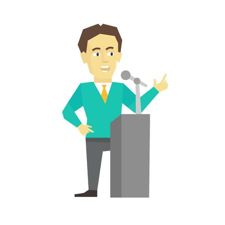 Polemicist speaker. Business man politician. President speech on tribune pulpit. Flat color vector illustration.