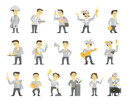 Set of sixteen different character design. Speaker politician and many others. Flat color vector illustration stock clipart.