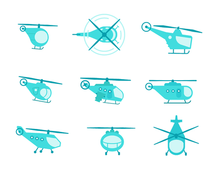 Nice set of helicopters for your design transport fly collection aviation. Flat vector stock illustration blue color.