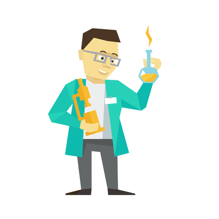 Person scientist inventor business man. The chemist clever with bulb and microscope in a dressing-gown with glasses. Flat color vector illustration stock clipart. Illustration
