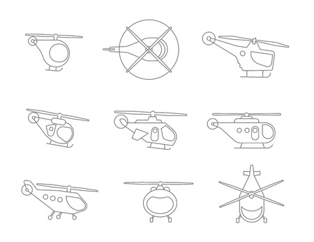 Nice Set of Line helicopters for your design transport fly collection aviation. Flat outline contour vector stock illustration.