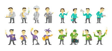 Set of different character design. Speaker politician and many others. Flat color vector illustration stock clipart isolated