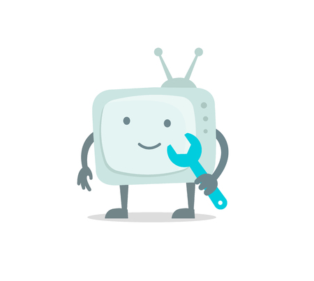 Television character with face, legs and hands. Repair set. Telly television goggle-box fixing with wrench set 404 character set with wrench spanner repairs. Color vector illustration stock.