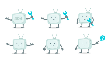 Television character set with face, legs and hands.